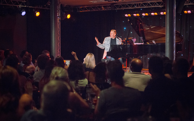 Scaled trevor jones at piano bar as part of 2017 fringe world. pic by jamie breen