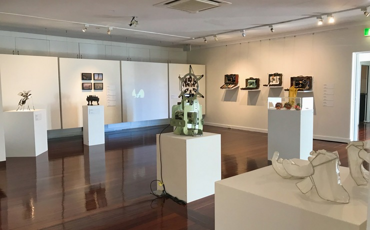 Scaled beach street gallery. exhibition pictured machines   makers